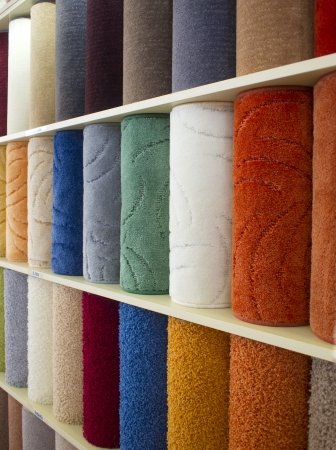 colorful carpets samples on the shelves Zdjęcie Seryjne