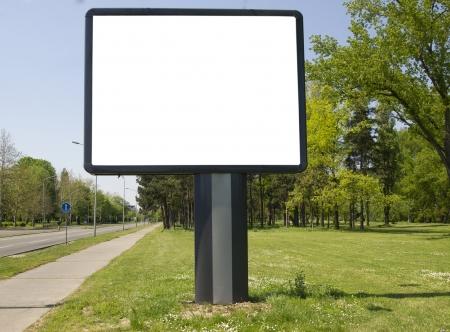 公園の近くの空の看板 写真素材