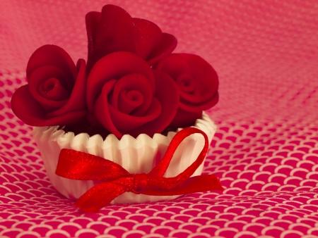 orange cake: red cupcake Stock Photo