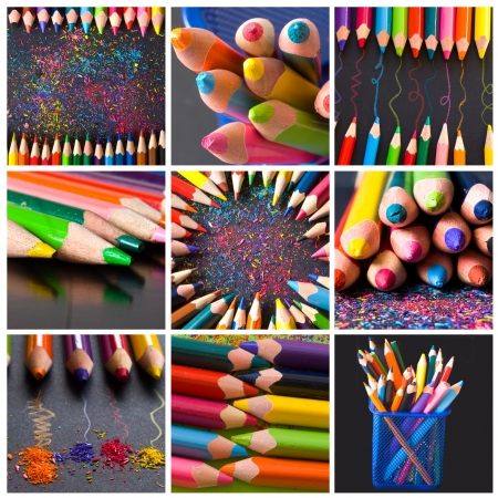 wooden pencils collage Stock Photo - 18668323