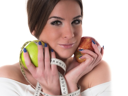 woman with apples, diet concept photo