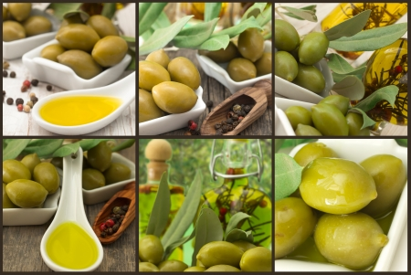 olives with olive oil collage photo