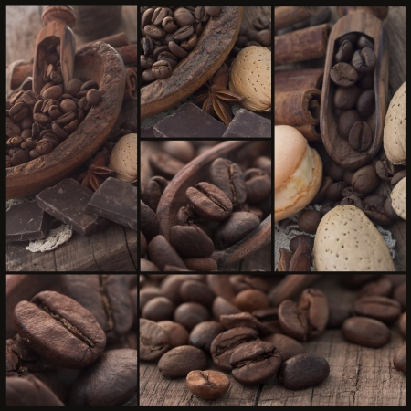 roasting: coffee beans collage Stock Photo