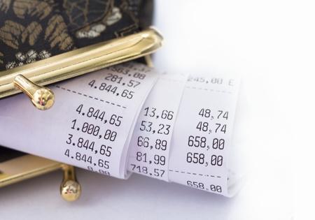 receipt in the wallet