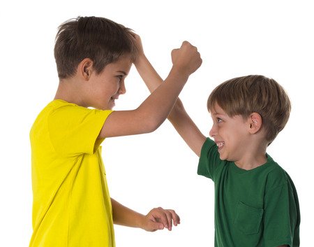 unfriendly: brothers fight Stock Photo