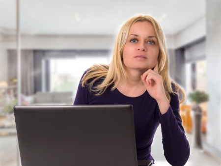 woman working with laptop  photo