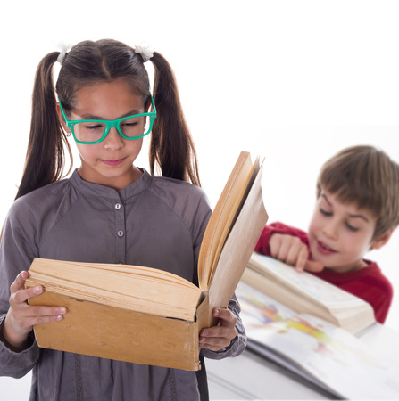 diligent: diligent pupils love reading Stock Photo