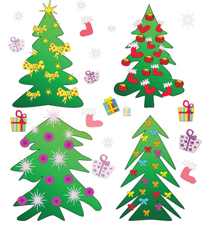 Christmas trees - freehand illustration Vector