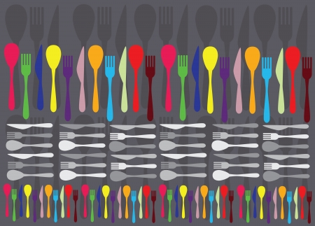 spoons, forks and knifes creating colorful vector background Vector