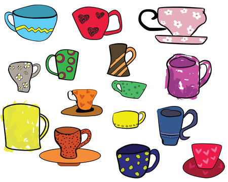 collection of cups, freehand illustration Vector