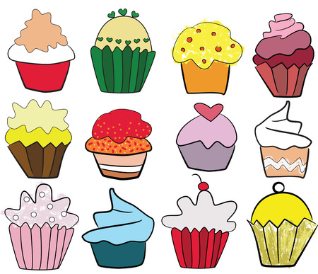 tasteful: collection of tasteful colorful cupcakes, freehand illustration