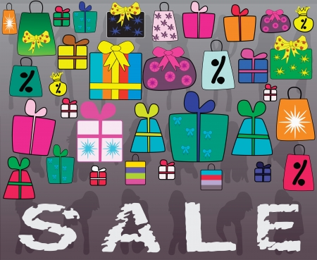 Concept of Big Sale with many little gifts and shopping bags Vector