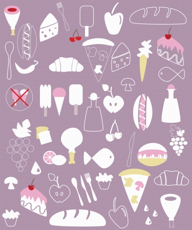 Various food illustrations  Vector
