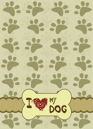 Dog paws with place for the text  Vector
