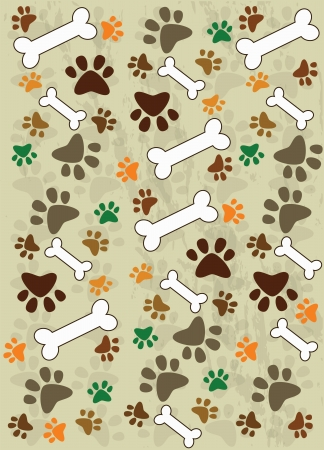 Dog paws and food for dogs  Vector