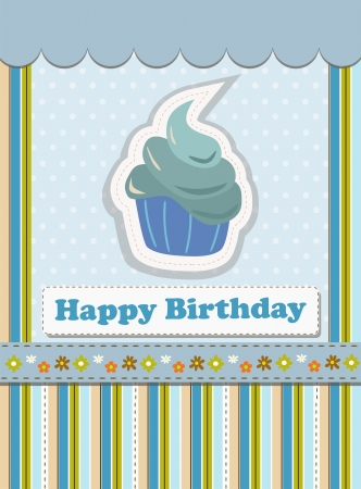 blue happy birthday card Vector