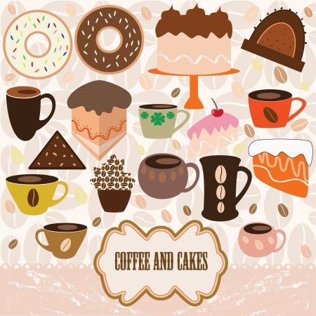 coffee and cakes teapot cup and chocolate cake hand drawn illustration royalty