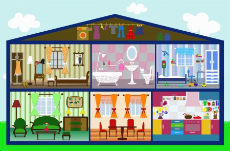 cute house in a cut Ilustracja