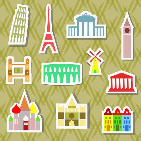 european cities: European cities landmarks as stickers