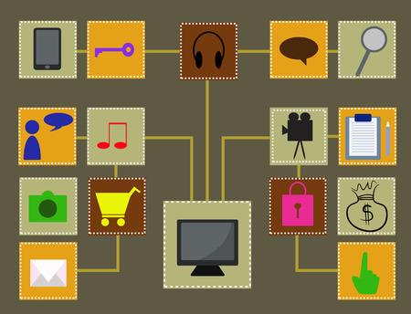 uploading: computer network Illustration