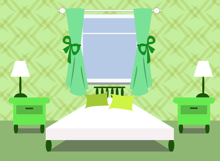 green bedroom Vector