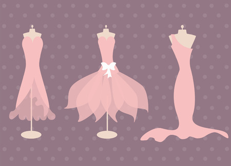pink dresses Vector