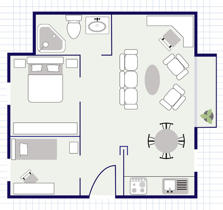 condominium: floor plan with furniture Illustration