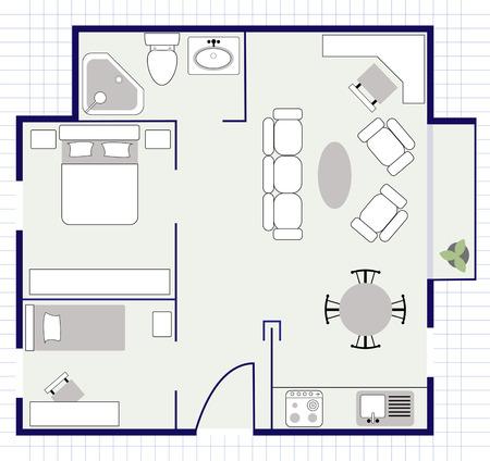 plan de piso con muebles Ilustración de vector