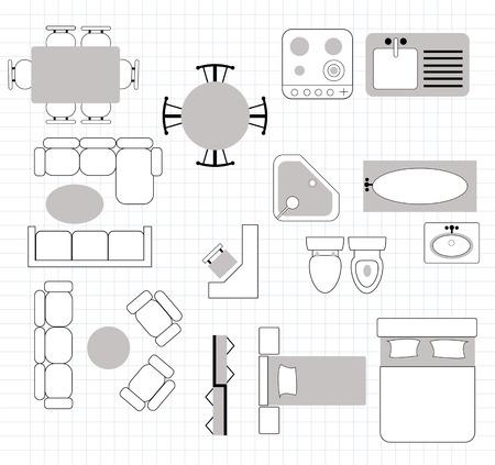 plan d'étage avec des meubles Illustration