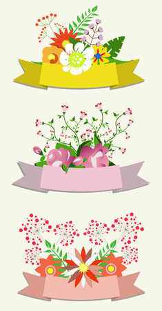 ribbons with floral decoration Vector