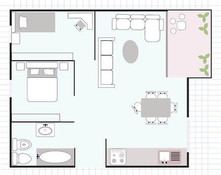 apartment house: floor plan Illustration