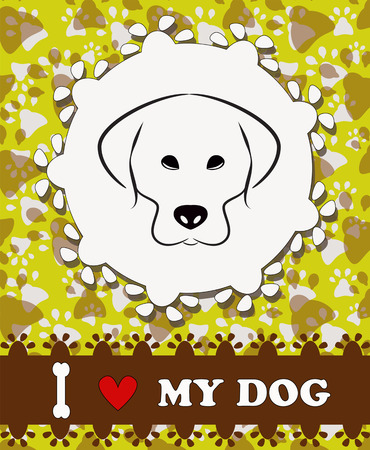 I love my dog, pet background Vector