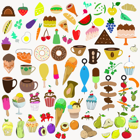 big collection of food Vector