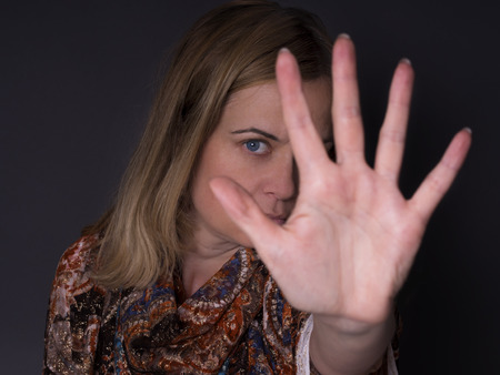 abusing: stop abusing women Stock Photo