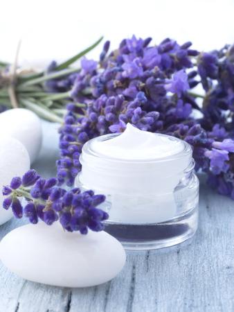 facial cream: natural facial cream with lavender Stock Photo