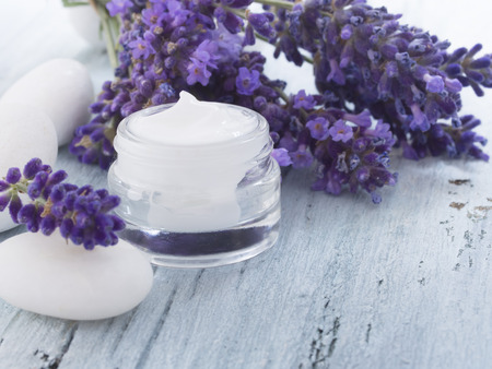 skin care products: natural facial cream with lavender Stock Photo