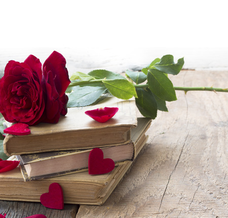 scribe: old books and red roses, concept of love