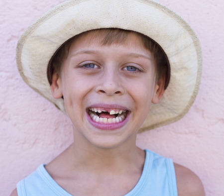 toothless: portrait of a happy, toothless boy Stock Photo