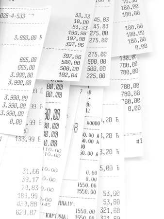 cash slips: cash register receipts