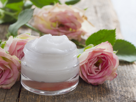 natural cosmetics, fresh as roses Stock Photo