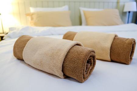 hotel bedroom: bedroom in hotel Stock Photo