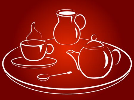 Coffee service with  cup, coffee pot, spoon, tray and milkman Stock Photo - 5044037