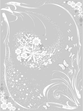 Floral background with Butterflies 일러스트