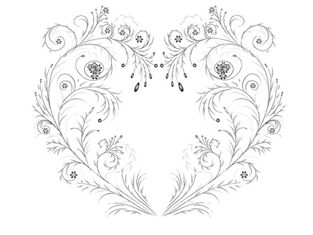 Isolated floral design elements shaped heart