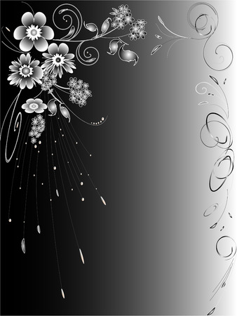 Abstract background made of black and white flowers