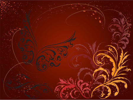 Background made of curls and butterfly