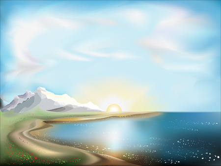 Landscape with the ocean, mountains and the sun