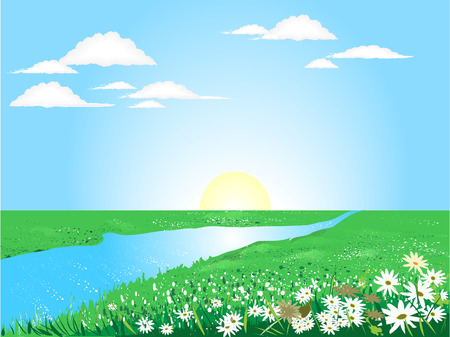 Beautiful sunny day on the green meadow with river 일러스트