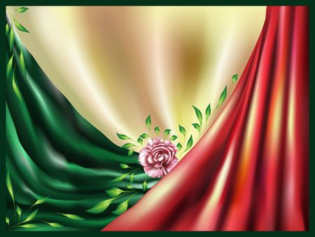 Abstract background with a rose, drapery and foliage