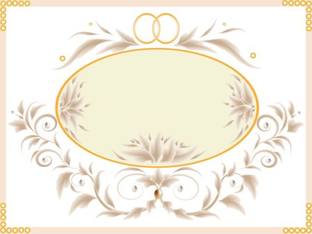 Wedding card with flowers, rings and curls.